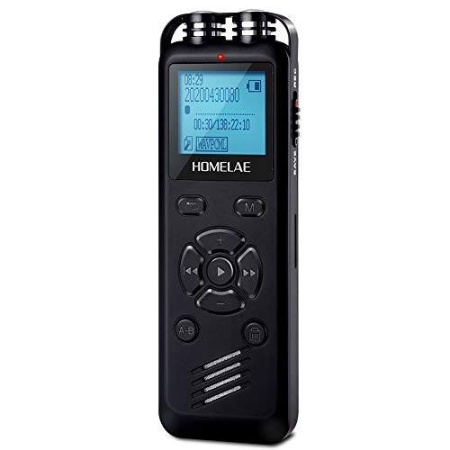 Voice Activated Recorder for Lectures, Homelae Mini 32GB Sound Audio Tape Recorders Dictaphone Recording Device with Playback for Meeting, Class, Interview, USB Rechargeable and Line-in