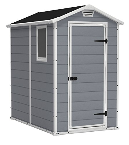 KETER Manor 4x6 Resin Outdoor Storage Shed Kit-Perfect to Store Patio Furniture, Garden Tools Bike Accessories, Beach Chairs and Lawn Mower, Grey & White