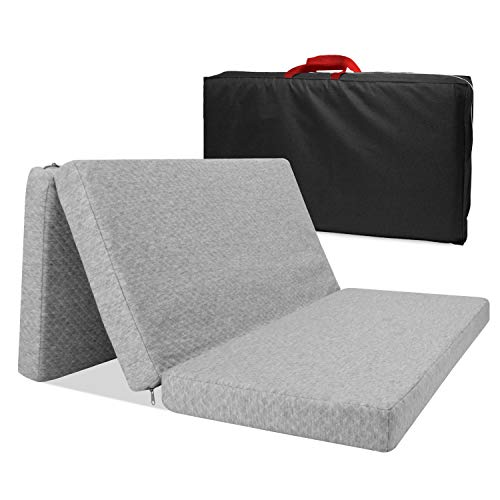 Surpcos Tri-fold Pack n Play Mattress Pad, Trifold Mattress Pad with Storage Bag, Portable Playard Mattress for Babies Infants or Toddlers, Foldable N Play Mattress for Crib, Grey 38.5' x 26' x 1.8''