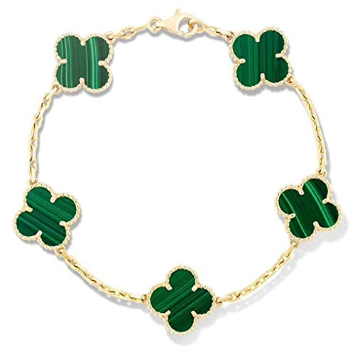 HYUSYS Popular Now Fashion S925 Sterling Silver 18k Four Leaf Clover /4 Leaf Pearl Clover Bracelets Jewelry for Women&Gilrs (Green-Gold)