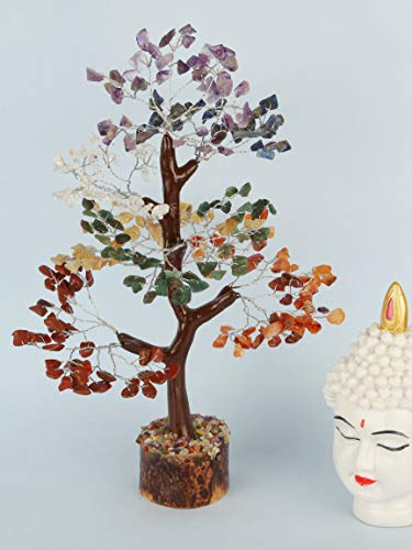 YATHABI Seven Chakra Silver Wire Handmade Gemstone Tree Feng Shui Bonsai for Attracting Positive Energies Chakra Balancing Aura Cleansing Crystal Healing Home Decor Size:- 10-12 Inch Approx