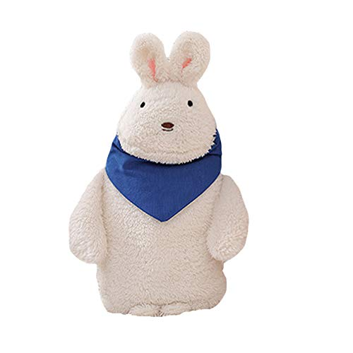 Hot Water Bottle, VEEKI Rubber Premium 1.75-Liter Hot and Cold Water Bottle with Washable Cute Cartoon Plush White Rabbit Cover, for Household Warm Items, Relieve Muscle Aches & Pains