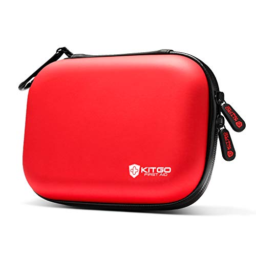 Kitgo Mini First Aid Kit Christmas Gifts for Men Dad Husband 101 Pieces, Water-Resistant Compact Hard Shell Case Perfect for Travel, Biking, Hiking, Camping, Car
