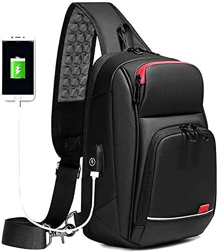 LELEBEAR Phantom Smart Shoulder Bag, Men Sling Crossbody Bag with USB Charging Port Waterproof Lightweight Casual Shoulder Bag