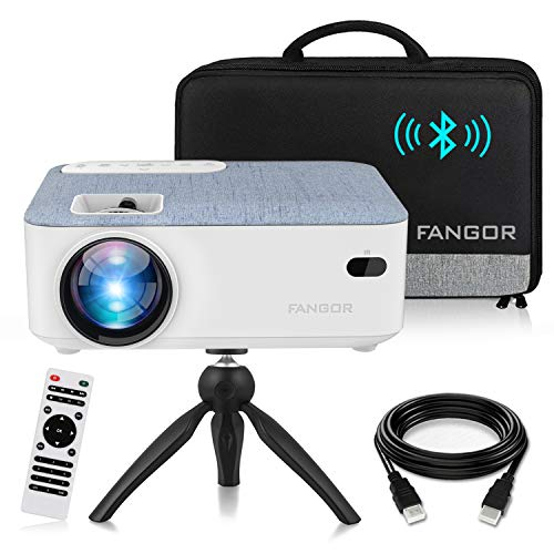 FANGOR HD Bluetooth Projector, 2020 Latest Update 5500 Lux Portable LCD Projector with Carrying Bag and Tripod, Compatible with Smartphone, TV Stick, Roku, PS4, Xbox, Full HD 1080P Supported