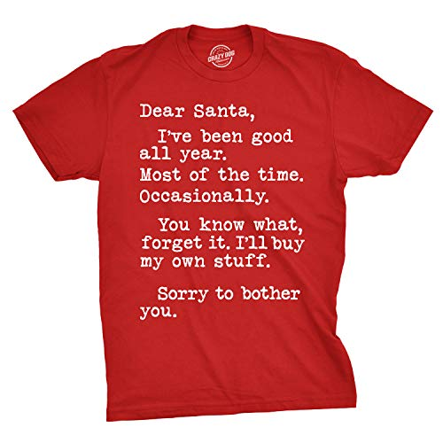 Mens Dear Santa Ill Buy My Own Stuff T Shirt Funny Sarcastic Tee (Red) - M