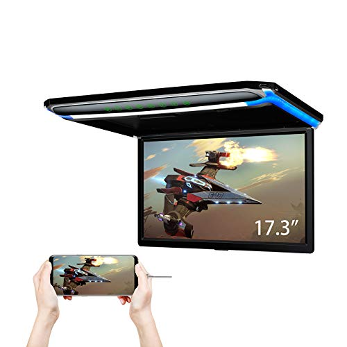XTRONS 17.3 Inch 16:9 Ultra-Thin FHD Digital TFT Screen 1080P Video Car Overhead Player Roof Mounted Monitor HDMI Port 19201080 Full High Definition (No DVD)