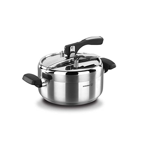 Korkmaz Turbo 5 Quart Stove Top Pressure Cooker Stainless Steel Cookware Induction Compatible, Manual Slow Cooker, Rice Cooker, Steamer, Saute, Yogurt Maker and Warmer