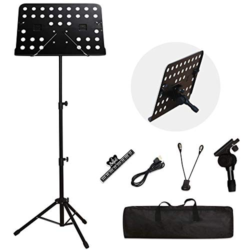 T-SIGN Dual-Use Sheet Music Stand, Tabletop Music Book Stand, Metal Music Stand for Sheet Music, Portable Music Stand for Desktop and Floor Use, Professional Collapsible Music Stand with Carrying Bag