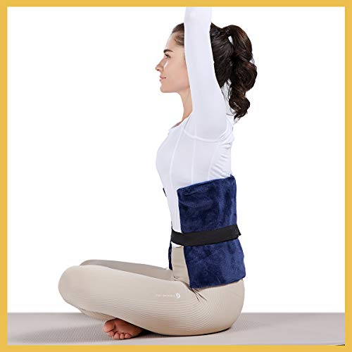 [New Launch] WOOMER Standard Electric Heating Pad for Back Pain and Cramps Relief, Equipped with Adjustable Strap & Storage Bag, 4 Heat Settings, Moist Heating Option,2H Auto Shut Off, Navy, 12'x15'