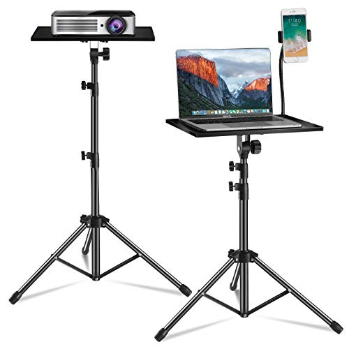 Laptop Tripod, Laptop Floor Stand Adjustable Height 17.7 to 47.2 Inch with Gooseneck Phone Holder, Portable Projector Stand Tripod for Outdoor Movies-Detachable Computer DJ Equipment Holder Mount