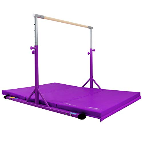 Z ATHLETIC Expandable Kip Bar, Adjustable Height for Gymnastics and Training & 4ft x 6ft x 2in Mat (Purple)
