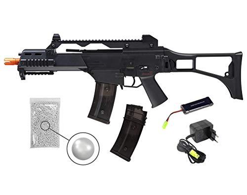 Wearable4U Umarex Elite Force HK Heckler&Koch G36C AEG Automatic 6mm BB Rifle Airsoft Gun with Spare 400rds Mag Pack of 1000 6mm (.22) BBS Bundle (Black, Battery and Charger Included)