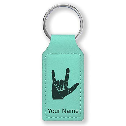 Rectangle Keychain, Sign Language I Love You, Personalized Engraving Included (Teal)