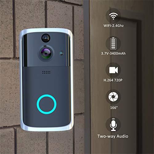 2021 New 1080P Smart WiFi Security Doorbell Wireless Video Phone Camera Night Vision Remote WiFi Smart Doorbell (Black)