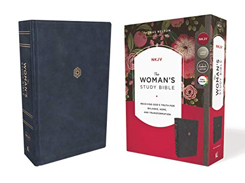 The NKJV, Woman's Study Bible, Leathersoft, Blue, Red Letter, Full-Color Edition, Thumb Indexed: Receiving God's Truth for Balance, Hope, and Transformation