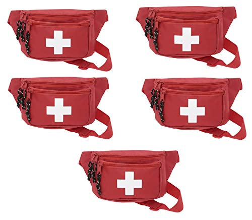 5pk AsaTechmed First Aid Waist Pack - Baywatch Lifeguard Fanny Pack - Compact for Emergency at Home, Car, Outdoors, Hiking, Playground, Pool, Camping, Workplace