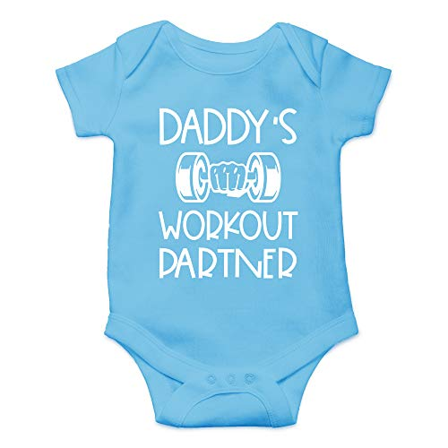 CBTwear Daddy's Workout Partner - Funny Fitness Outfits - Cute Infant One-Piece Baby Bodysuit (6 Months, Light Blue)