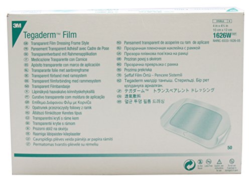 3M Health Care 1626W Tegaderm Film Dressing, Frame Style, Rectangle, 4.75' Width, 4' Length, 4' x 4 3/4', Transparent (Pack of 50)
