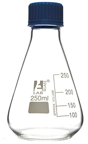 Erlenmeyer Flask, 250ml - Borosilicate Glass - with PTFE Screw Cap - Conical Shape - White Graduations - Eisco Labs