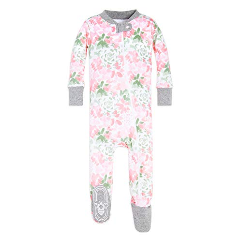 Burt's Bees Baby Baby Girls Pajamas, Zip Front Non-Slip Footed Sleeper PJs, 100% Organic Cotton, Tossed Succulent, 12 Months