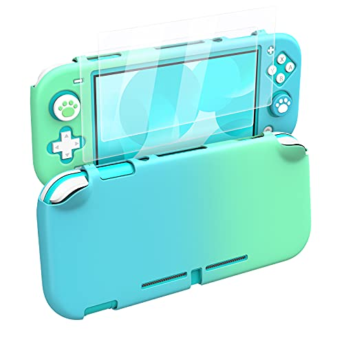 MoKo Protective Case Compatible with Nintendo Switch Lite, PC Protective Case Cover with 4 Thumb Grip Caps & 2 HD-Clear Tempered Glass Screen Protectors, Anti-Scratch Non-Slip Case, Blue + Green