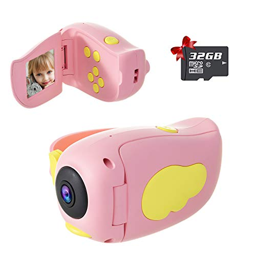 Kids Camera, Handheld Digital Video Camera Gifts for Boys and Girls, 10MP 1080P Toddler Video Recorder Rechargeable and Shockproof Creative DIY Camcorder for Children (32GB SD Card Included)