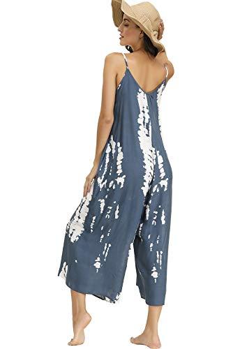 BUENOS NINOS Women's V Neck Floral Maxi Dress Boho Printed Adjustable Spaghetti Strap Ethnic Beach Long Dress with Pockets (XXL, Tie dye Jumpsuit)