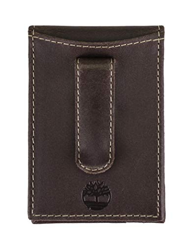 Timberland Men's Minimalist Front Pocket Slim Money Clip Wallet, Dark Brown, One Size