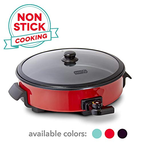 Dash DRG214RD Family Size Rapid Heat Electric Skillet + Hot Oven Cooker with 14 inch Nonstick Surface + Recipe Book for Pizza, Burgers, Cookies, Fajitas, Breakfast & More, 20 Cup Capacity, Red