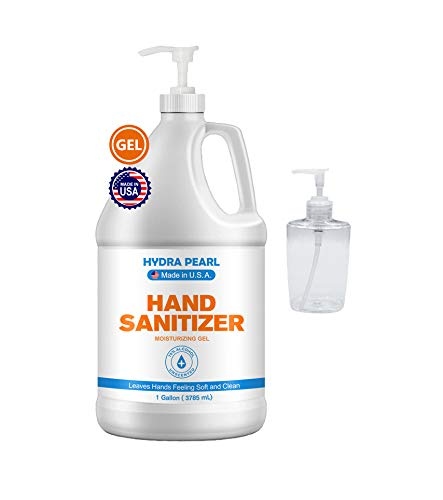 Hydra Pearl Hand Sanitizer Gel - 70% Alcohol - Unscented - 1 Gallon (128 oz) + Pump Dispenser - Bulk Refill Size + Free 10 oz Refill Bottle - Made in US… (1-Pack With Pump)