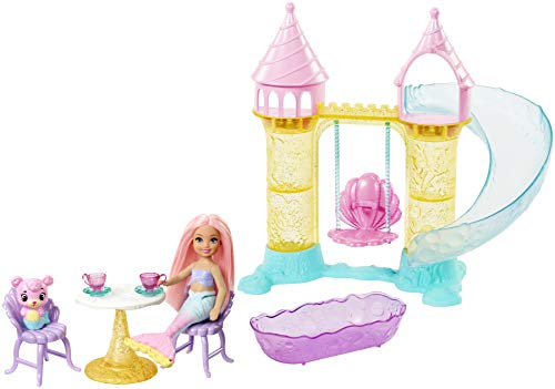 Barbie Dreamtopia Mermaid Playground Playset, with Chelsea Mermaid Doll, Merbear Friend Figure and Sand Castle Set with Swing, Slide, Pool and Tea Party, Gift for 3 to 7 Year Olds
