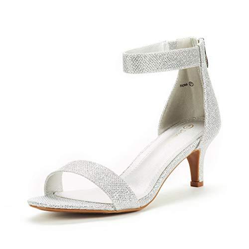 DREAM PAIRS Women's Fiona Silver Glitter Fashion Stilettos Open Toe Pump Heeled Sandals Size 7.5 B(M) US
