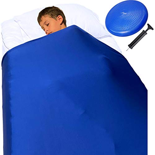Sensory Compression Blanket for Kids – Plus Wobble Seat Cushion –Breathable Compression Sheet Twin and Wiggle Disc, Sensory Sheet Improve Focus and Sleep for Autism, Sensory Processing Disorder, ADHD