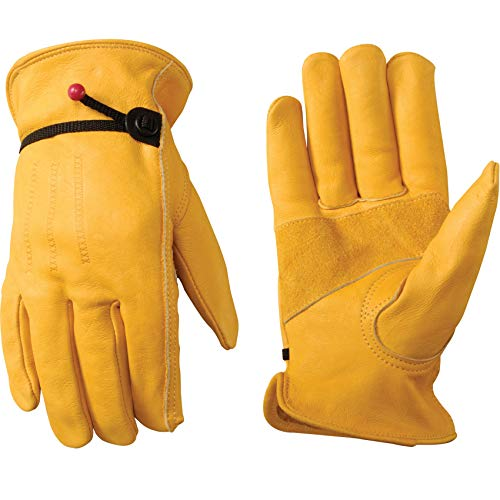 Wells Lamont Men's Cowhide Leather Work Gloves | Adjustable Wrist, Puncture and Cut Resistant | Large (1132L)