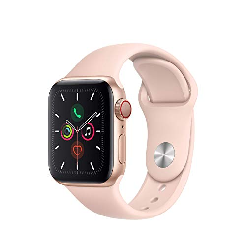 (Refurbished) Apple Watch Series 5 (GPS + Cellular, 40MM) - Gold Aluminum Case with Pink Sand Sport Band