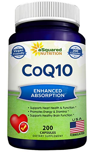 CoQ10 (400mg Max Strength, 200 Capsules) - High Absorption Vegan Coenzyme Q10 Powder - Ubiquinone Supplement Pills, Extra Antioxidant CO Q-10 Enzyme Vitamin Tablets, Coq 10 for Healthy Blood Pressure