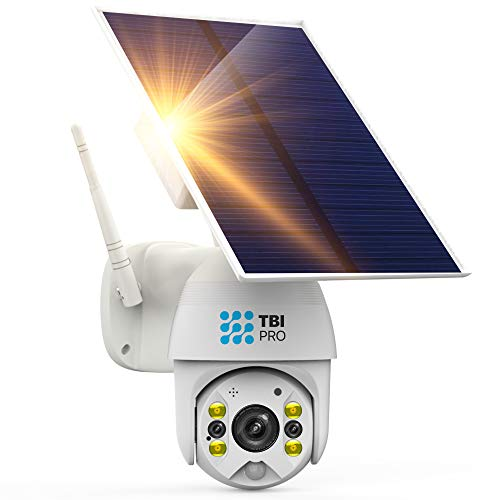 TBI Pro Solar Security Camera Outdoor Wireless PTZ - WiFi Home Spotlight Camera System, Rechargeable Battery Powered 15600mah HD Color Night Vision 2-Way Audio, 360° View, Radar Dual Detection Motion