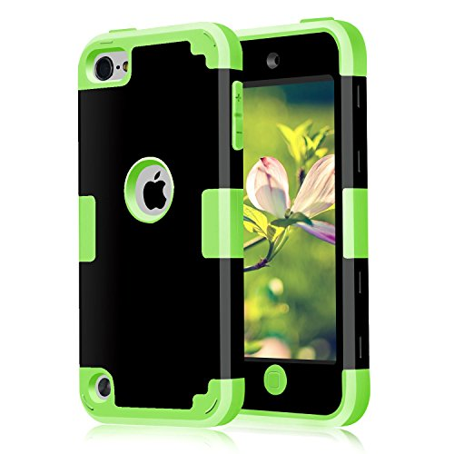 iPod Touch 7 Case 2019 iPod Touch 7th 6th 5th Generation Case CheerShare 3 in 1 Hard PC Case Silicone Shockproof Heavy Duty High Impact Armor Hard Case for Apple iPod Touch 6 Case (Black+Green)