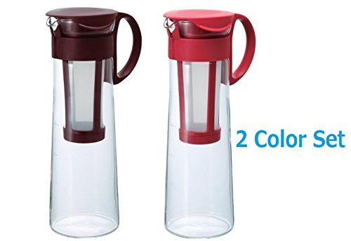 [2 Color Set] New Hario Hario 1000ml Mizudashi Cold Brew Coffee tea Server Red & Brown set