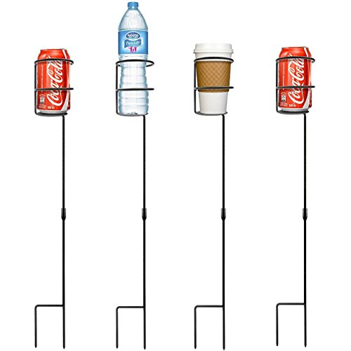 Sorbus Outdoor Beverage Heavy Duty Drink Holder Stakes, Set of 4- Holds a Variety of Beverages Sizes - Great for Beach, Picnics, Tailgating, and More