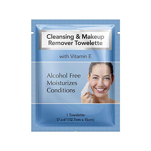Diamond Wipes Cleansing and Waterproof makeup remover towelette individual packets, alcohol free with vitamin E, hotel's choice (500 Count Case)