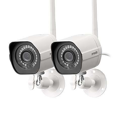 Zmodo Outdoor Security Camera Wireless (2 Pack), 1080p Full HD Home Security Camera System, Works with Alexa and Google Assistant, White (ZM-W0002-2)