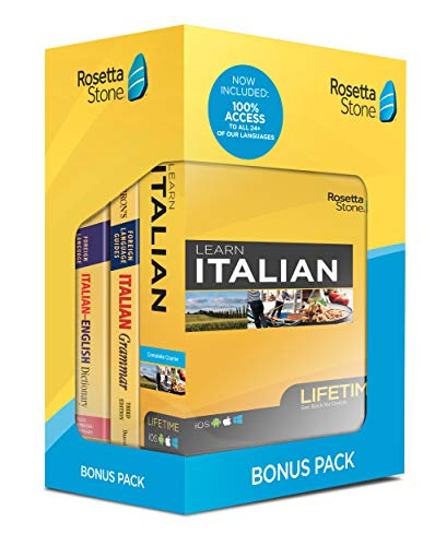 Rosetta Stone Learn Italian Bonus Pack Bundle  Lifetime Online Access + Grammar Guide + Dictionary Book Set  PC/Mac Keycard