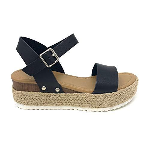 SODA Clip Topshoe Avenue Women's Open Toe Ankle Strap Espadrille Sandal (9, Black)
