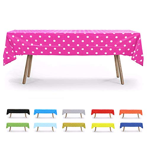 Gift Expressions Table Cloth, 12 Pack, Fuchsia Polka Dot, 54' x 108', Rectangular Waterproof Plastic Tablecloth, Reusable Heavy Duty Polyester Table Covers, Disposable Party Supplies & Decorations