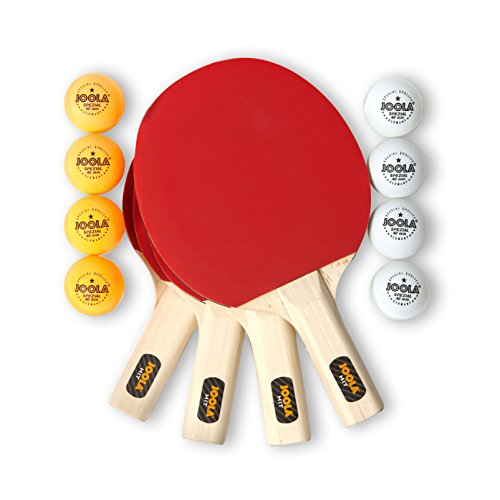 JOOLA All-in-One Indoor Table Tennis Hit Set (Bundle Includes 4 Rackets/Paddles, 8 Balls, Carrying Case), Multi, One Size (59152)