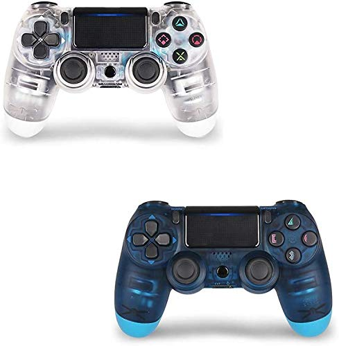 2 Pack Controller for PS4,Wireless Controller for Playstation 4 with Dual Vibration Game Joystick (Transparent Blue and Transparent White)