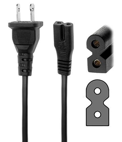 AMSK POWER 6 Ft 6 Feet 2 Prong Polarized Power Cord for Sharp TV LC-40E67UN LC-40D68UT LC-32SB21U LC-46D85U LC-46D78UN