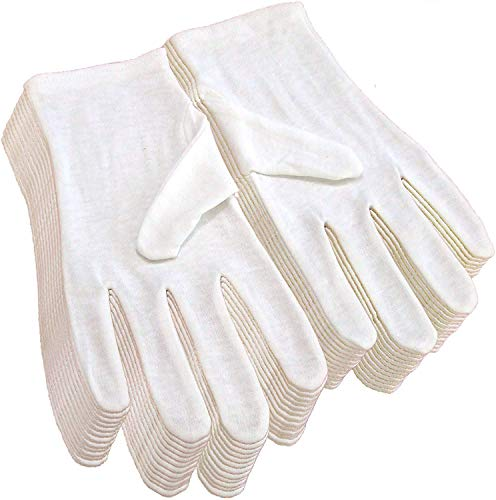 24Pcs Cotton Gloves for Eczema and Dry Hands, White Moisturizing Cotton Cloth Work Glove Liners for Protection, Soft SPA & Jewelry Inspection Gloves, 8.67″ Long One Size Fit Most Women & Men 12Pairs